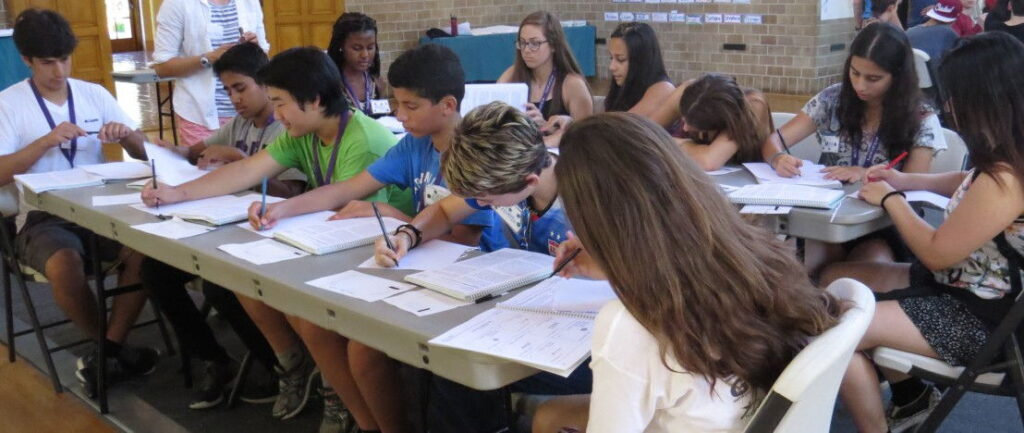 Campers learning academic skills